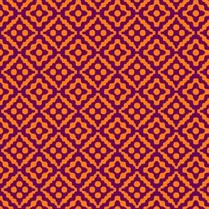 small tribal diamonds - india orange and dark purple