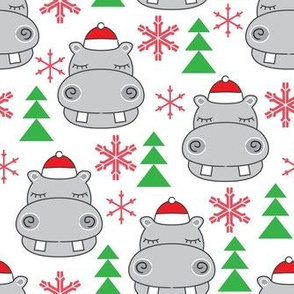 christmas hippos-with-santa-hats
