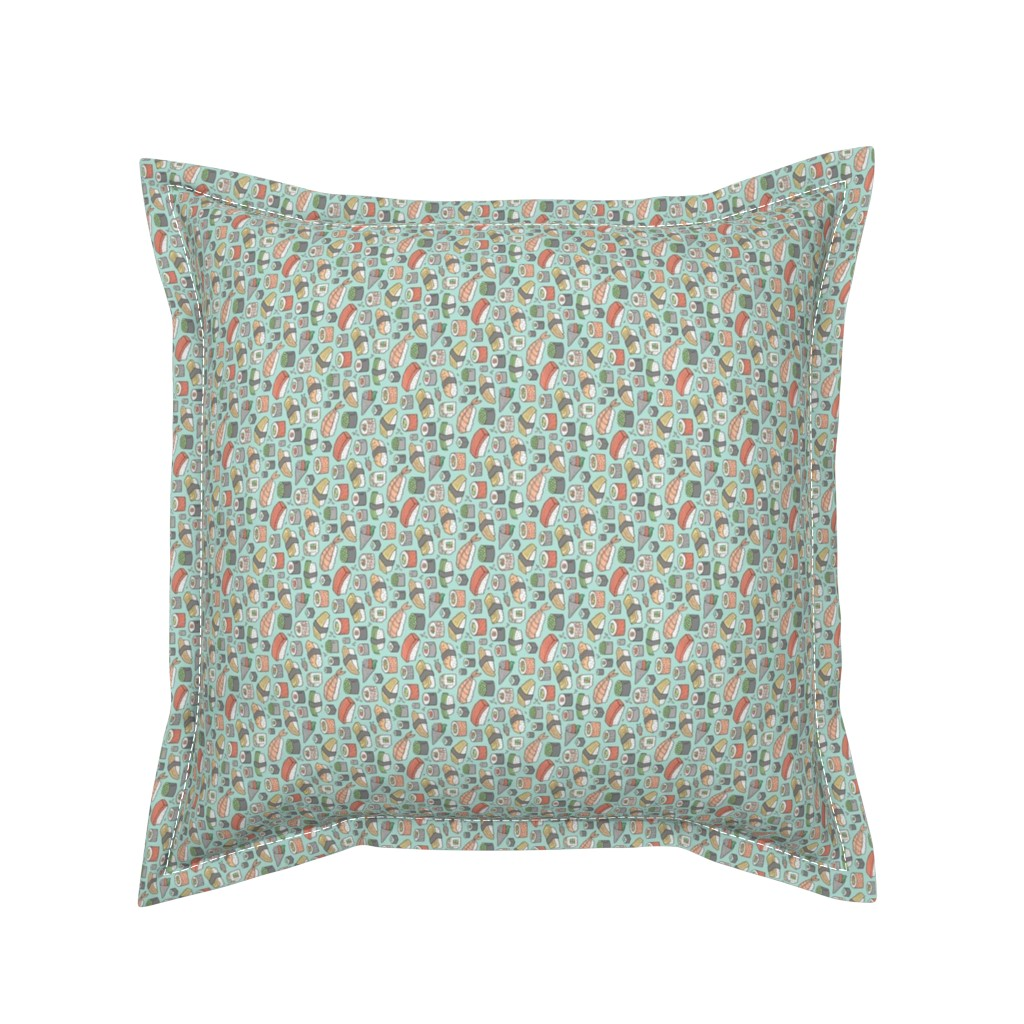 Serama Throw Pillow featuring Sushi on Mint Green Tiny Small Rotated by caja_design