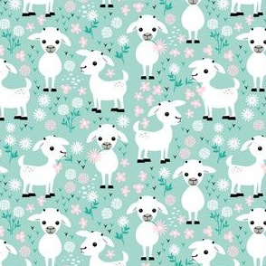 Baby goats on mint - small