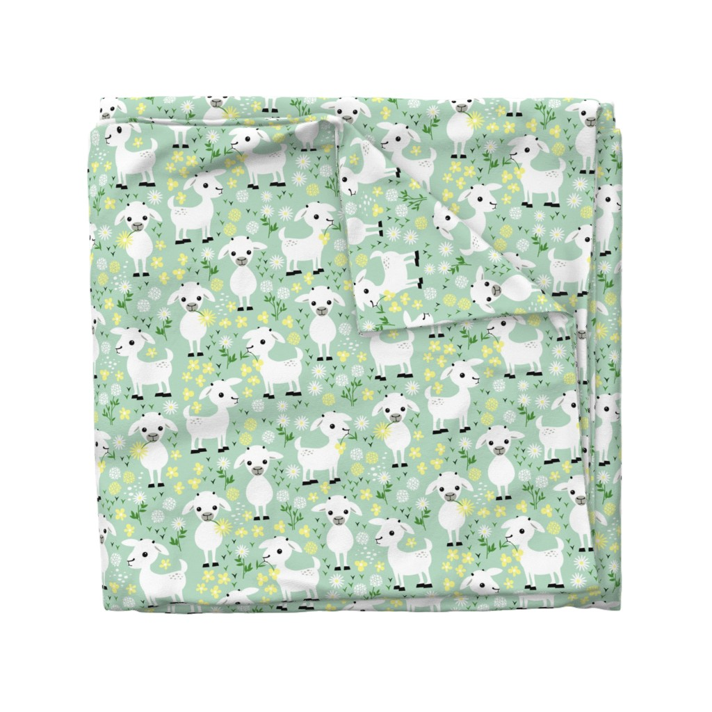 Wyandotte Duvet Cover featuring Baby goats on green by heleenvanbuul