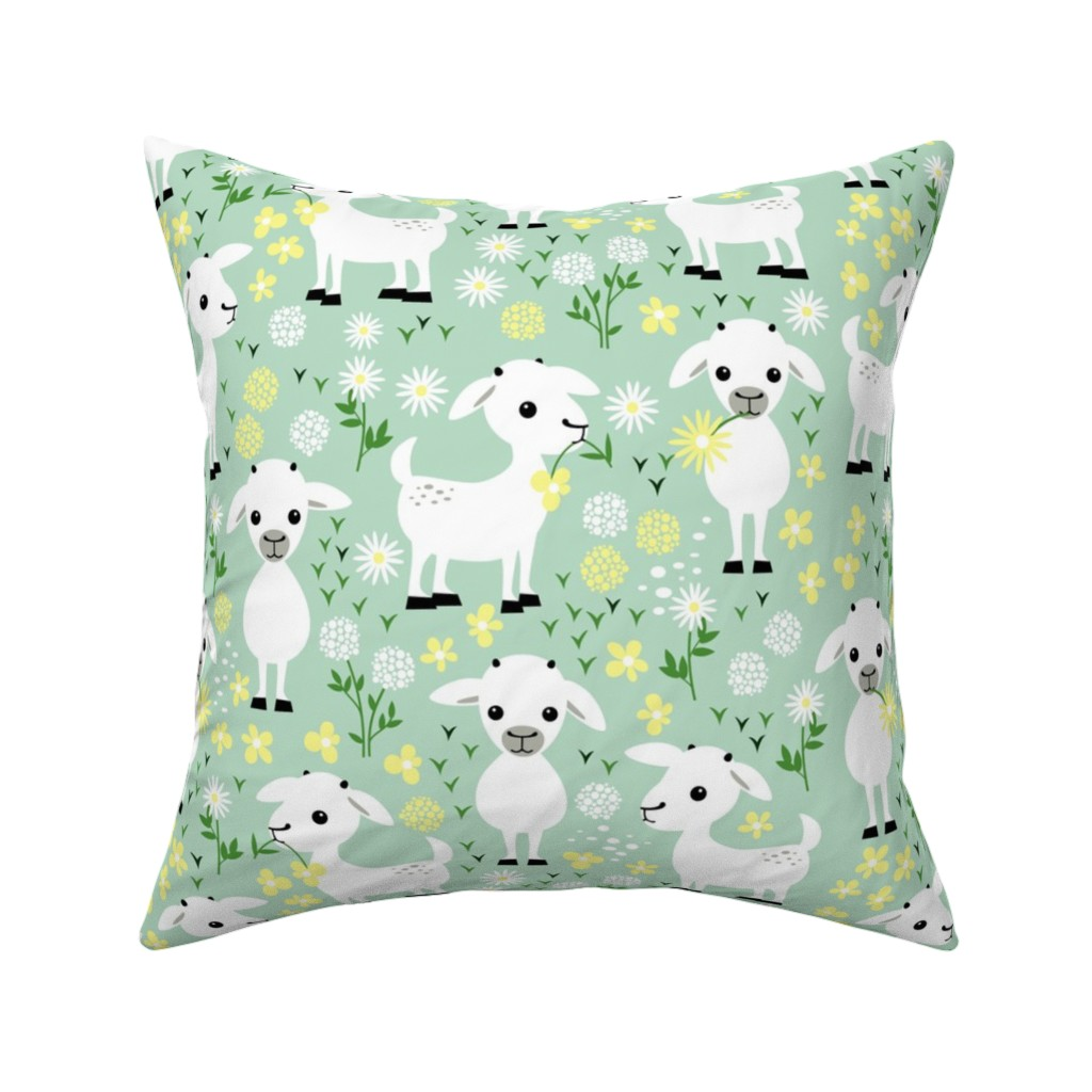 Catalan Throw Pillow featuring Baby goats on green by heleenvanbuul