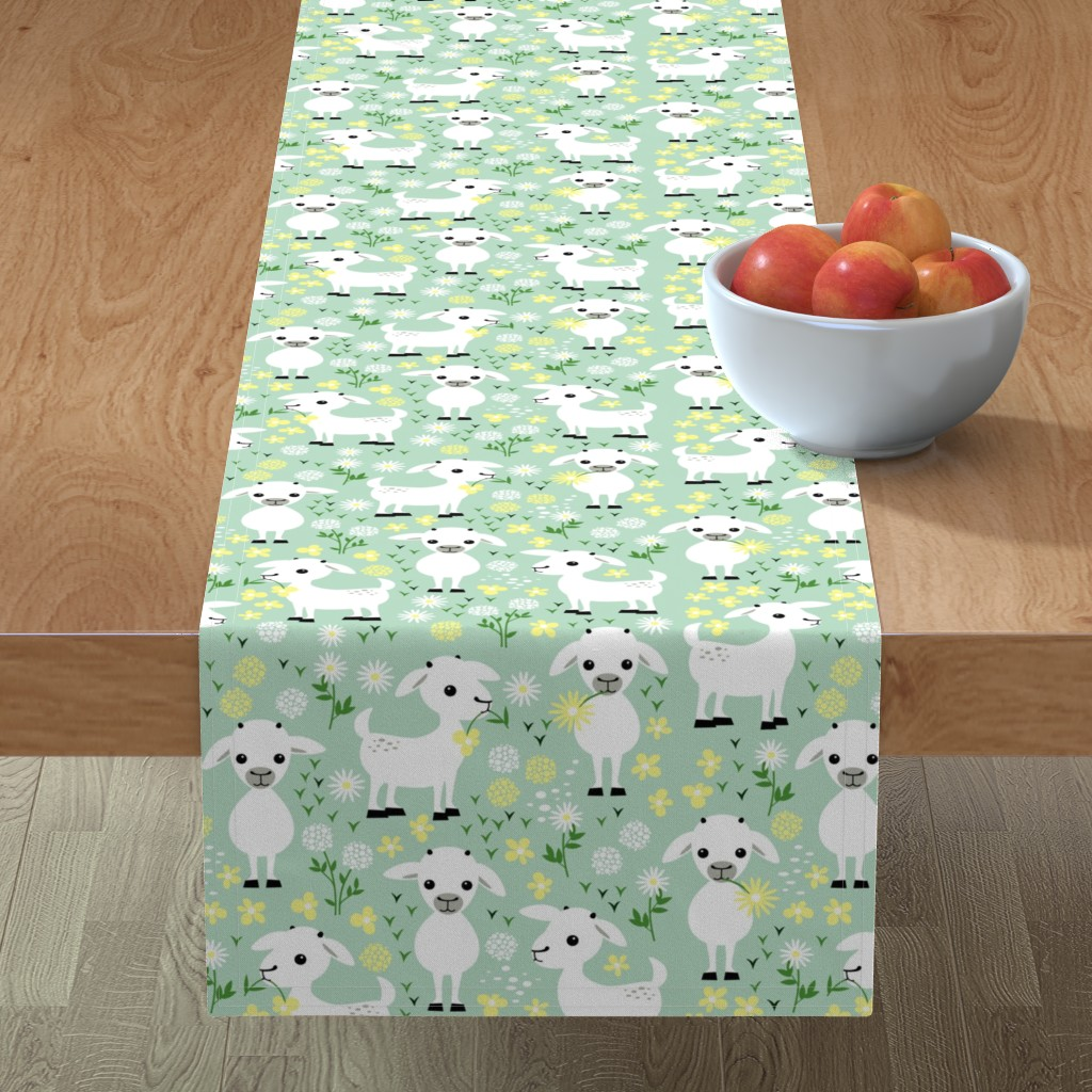Minorca Table Runner featuring Baby goats on green by heleenvanbuul