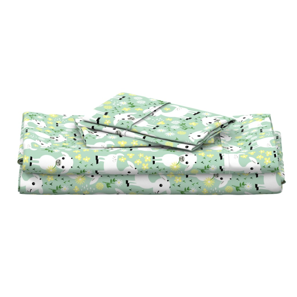 Langshan Full Bed Set featuring Baby goats on green by heleenvanbuul