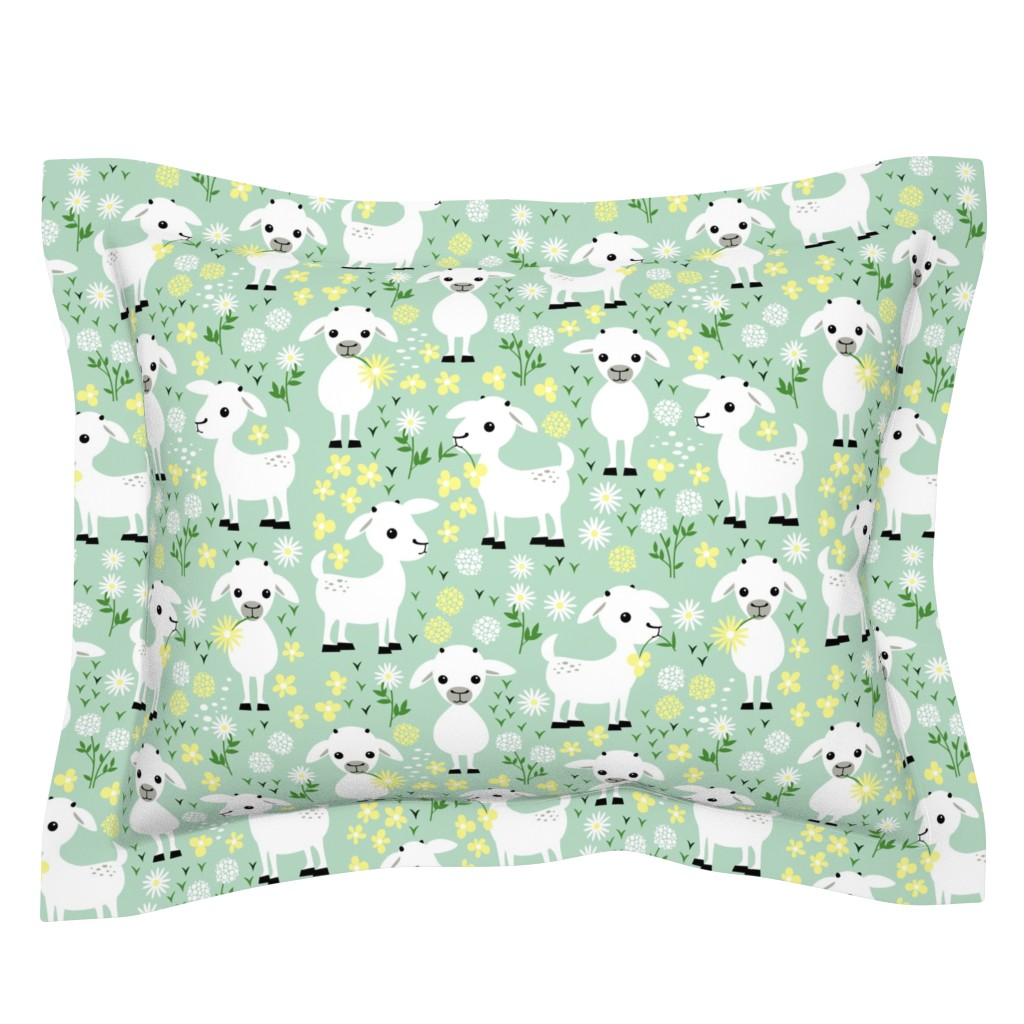 Sebright Pillow Sham featuring Baby goats on green by heleenvanbuul