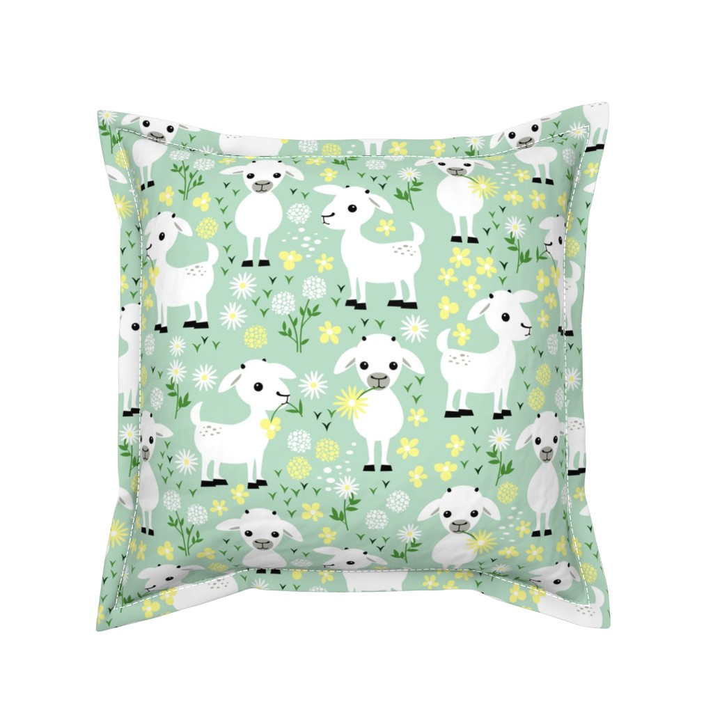 Serama Throw Pillow featuring Baby goats on green by heleenvanbuul