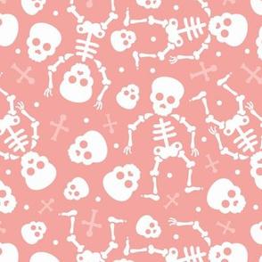 Cool skulls halloween skeleton and mexican dia de muerte kids print pink