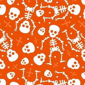 Cool skulls halloween skeleton and mexican dia de muerte kids print orange