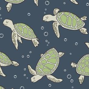 Sea Turtles Green Nautical Ocean Green on Navy Dark Blue