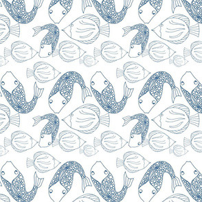 Abstract blue fish doodles