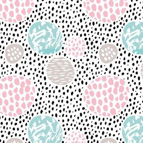 Cool dots and freckles circle abstract memphis style dots in pastel pink for girls
