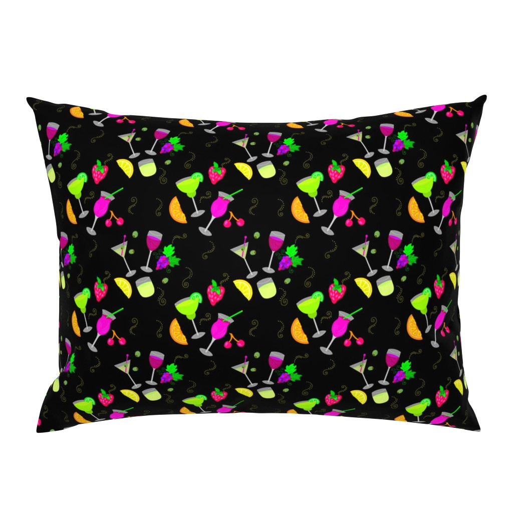 Campine Pillow Sham featuring Cocktail Glasses [Neon On Black] by theartofvikki