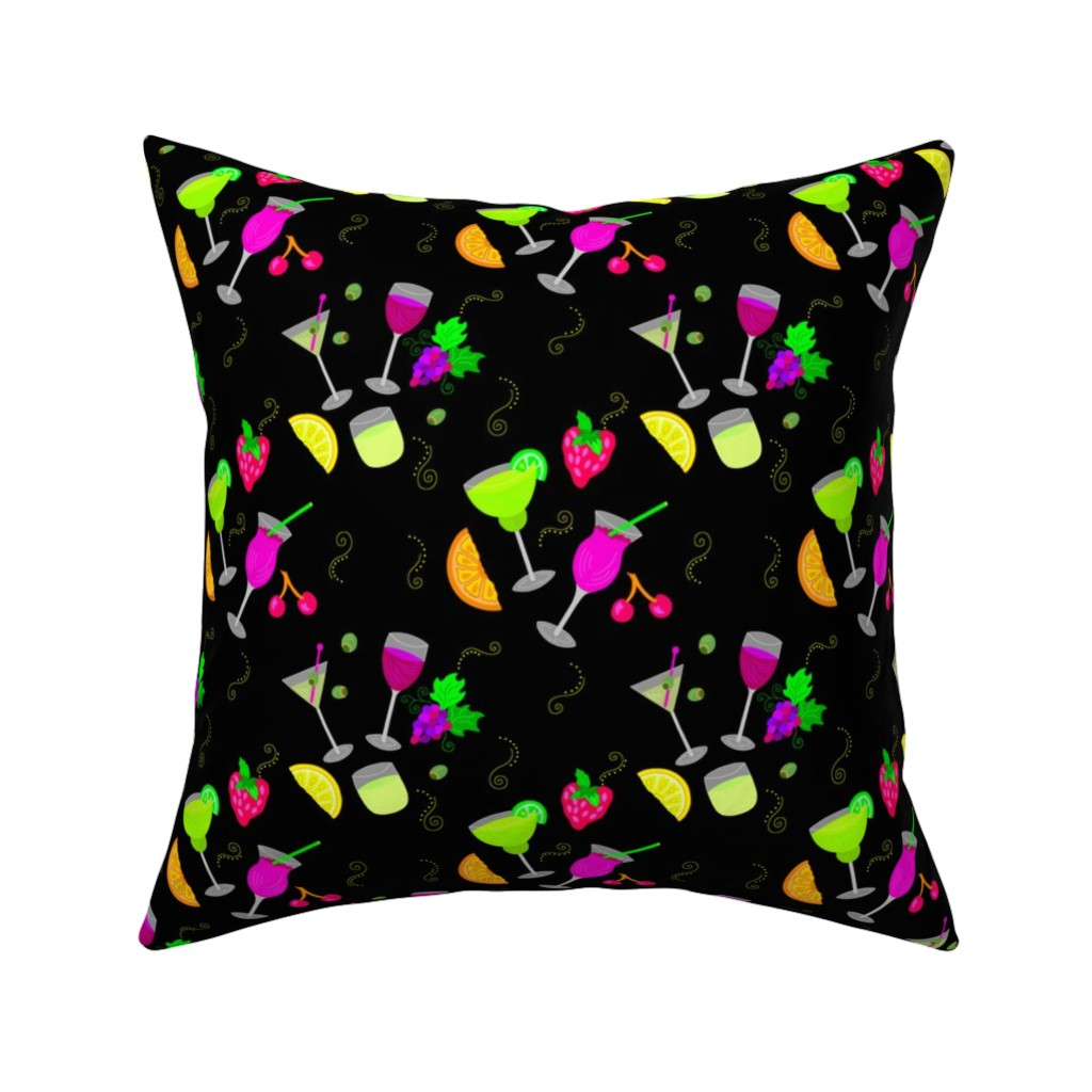 Catalan Throw Pillow featuring Cocktail Glasses [Neon On Black] by theartofvikki