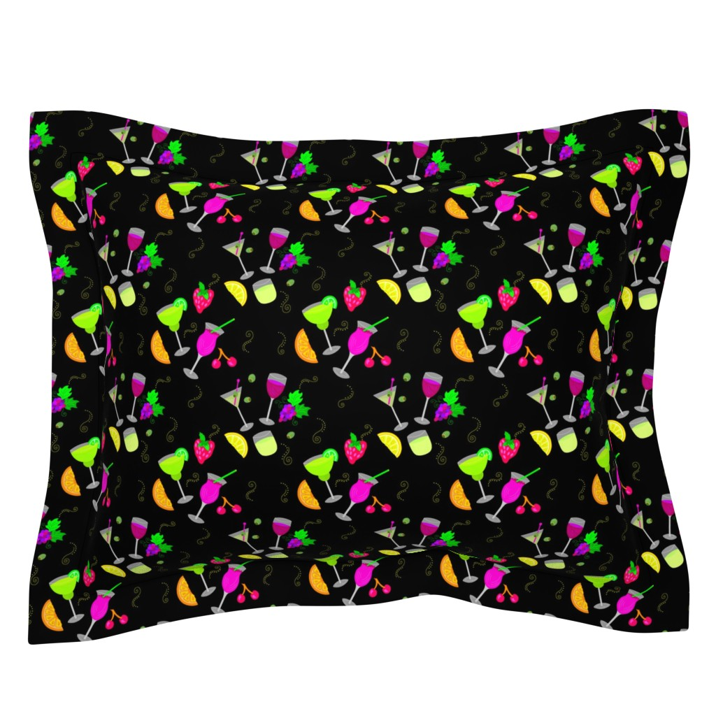Sebright Pillow Sham featuring Cocktail Glasses [Neon On Black] by theartofvikki