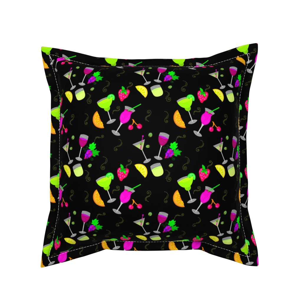 Serama Throw Pillow featuring Cocktail Glasses [Neon On Black] by theartofvikki