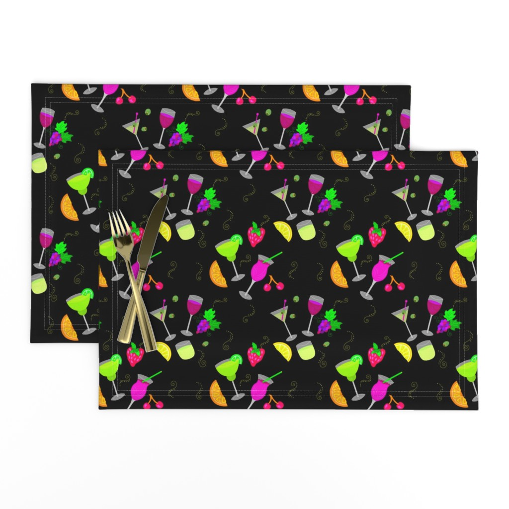 Lamona Cloth Placemats featuring Cocktail Glasses [Neon On Black] by theartofvikki