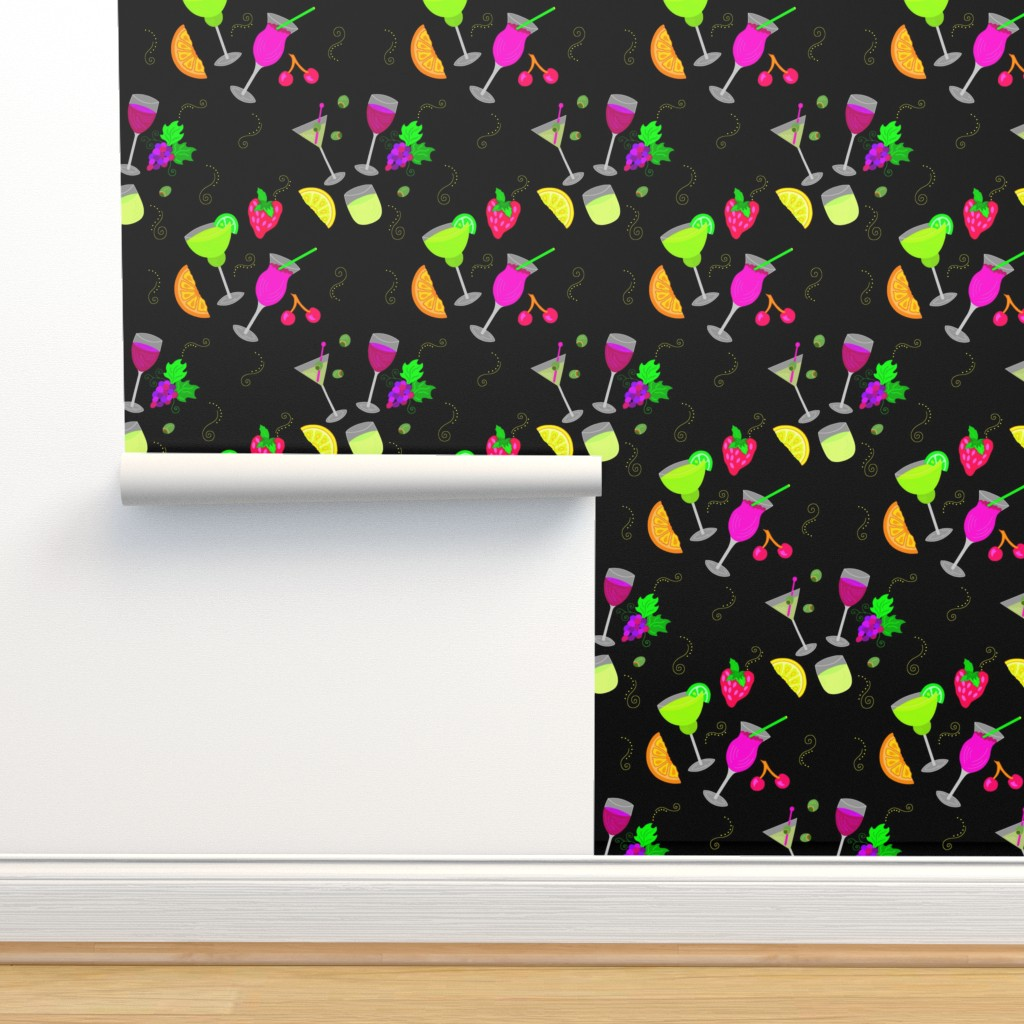 Isobar Durable Wallpaper featuring Cocktail Glasses [Neon On Black] by theartofvikki