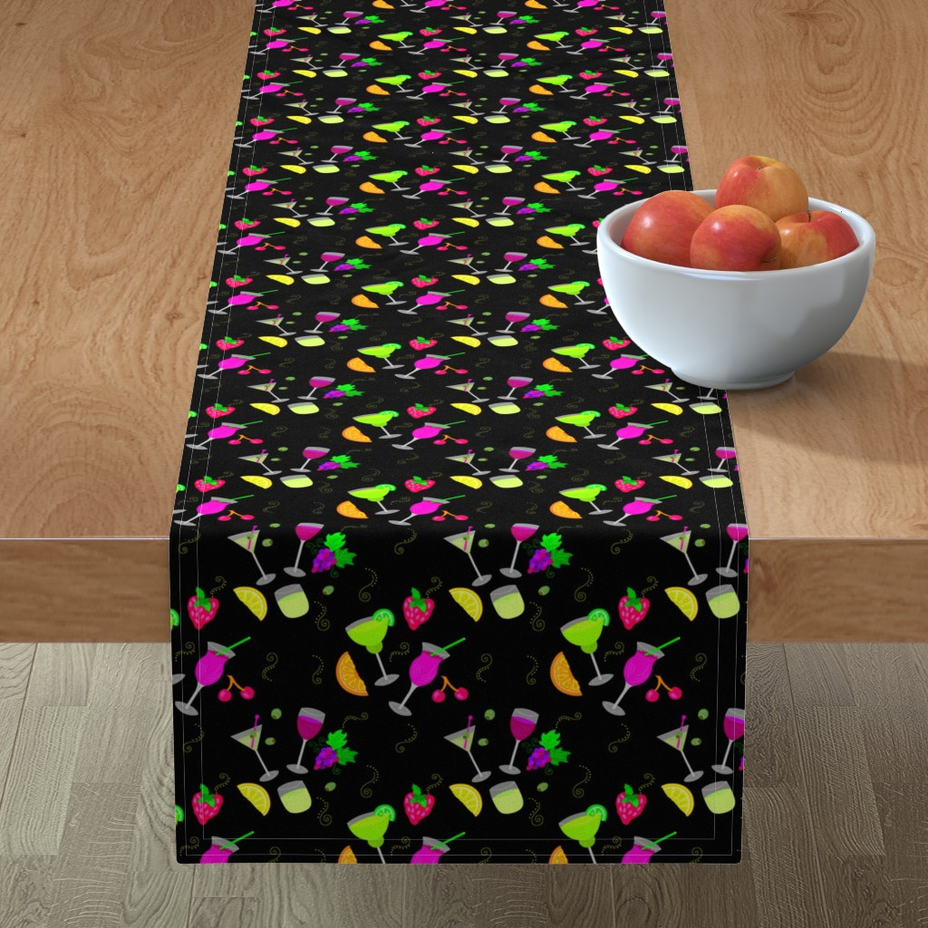 Minorca Table Runner featuring Cocktail Glasses [Neon On Black] by theartofvikki