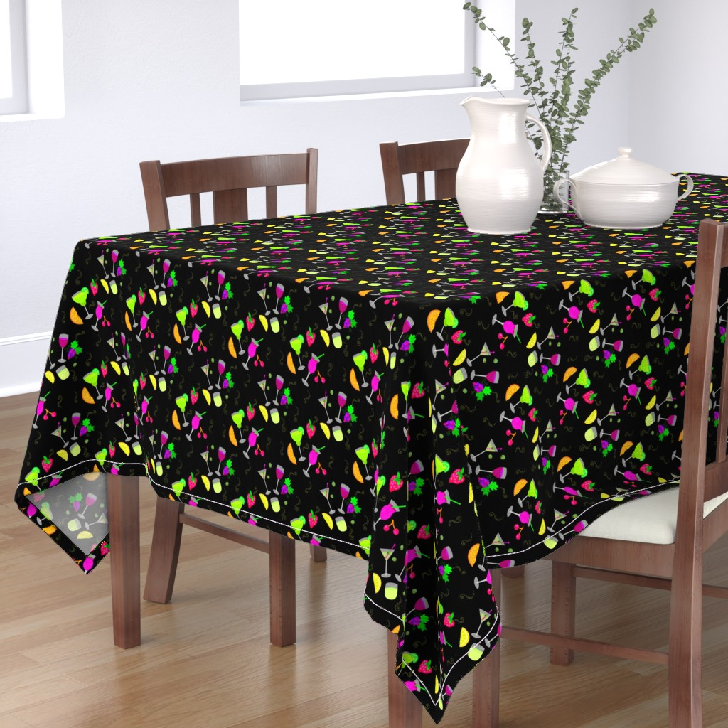 Bantam Rectangular Tablecloth featuring Cocktail Glasses [Neon On Black] by theartofvikki