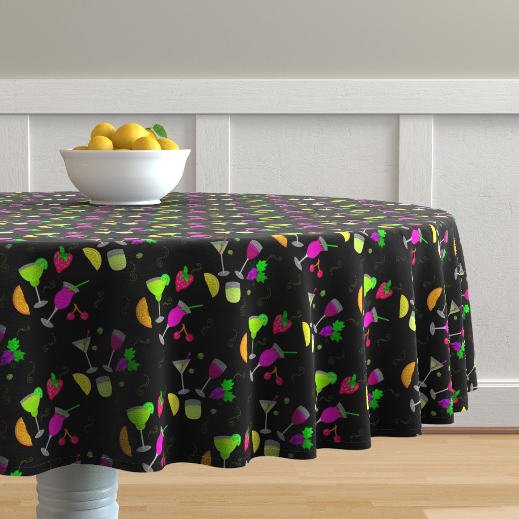 Malay Round Tablecloth featuring Cocktail Glasses [Neon On Black] by theartofvikki