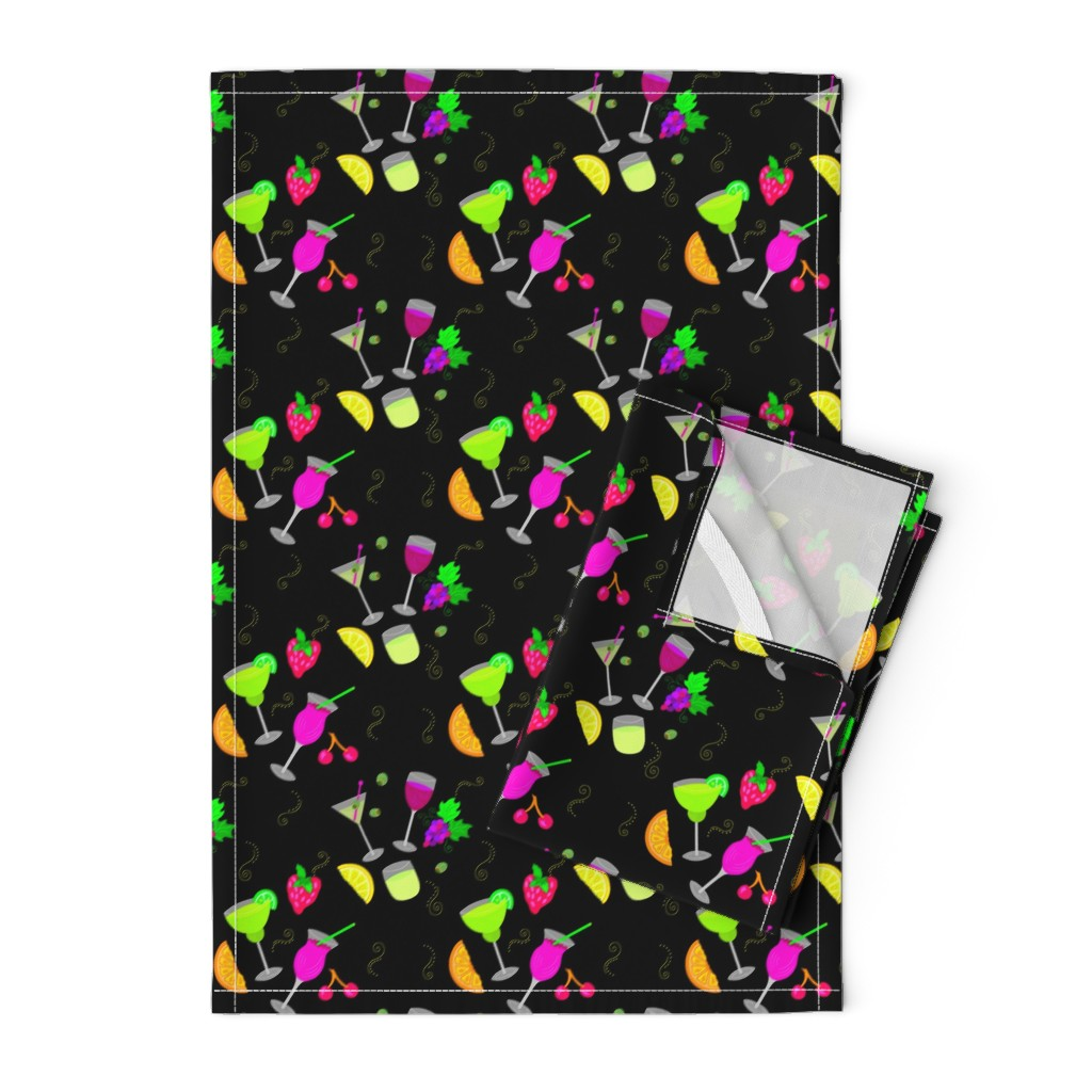 Orpington Tea Towels featuring Cocktail Glasses [Neon On Black] by theartofvikki