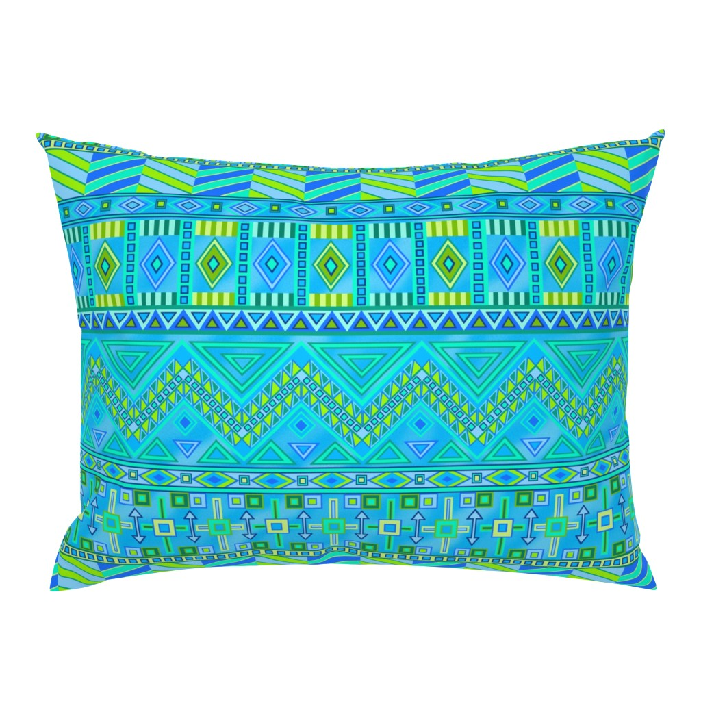 Campine Pillow Sham featuring Aztec Print Blues And Greens by theartofvikki
