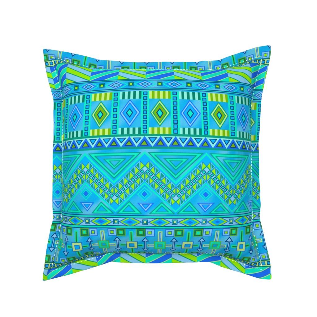 Serama Throw Pillow featuring Aztec Print Blues And Greens by theartofvikki