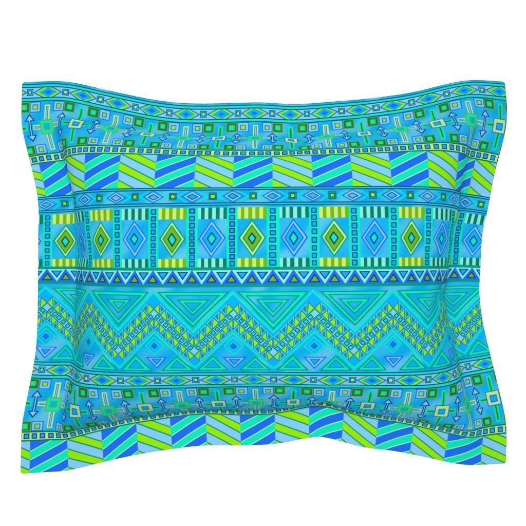 Sebright Pillow Sham featuring Aztec Print Blues And Greens by theartofvikki
