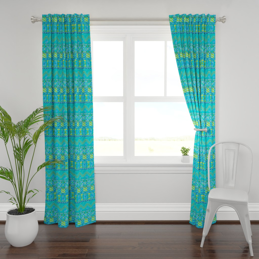 Plymouth Curtain Panel featuring Aztec Print Blues And Greens by theartofvikki