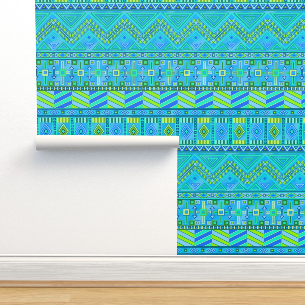 Isobar Durable Wallpaper featuring Aztec Print Blues And Greens by theartofvikki