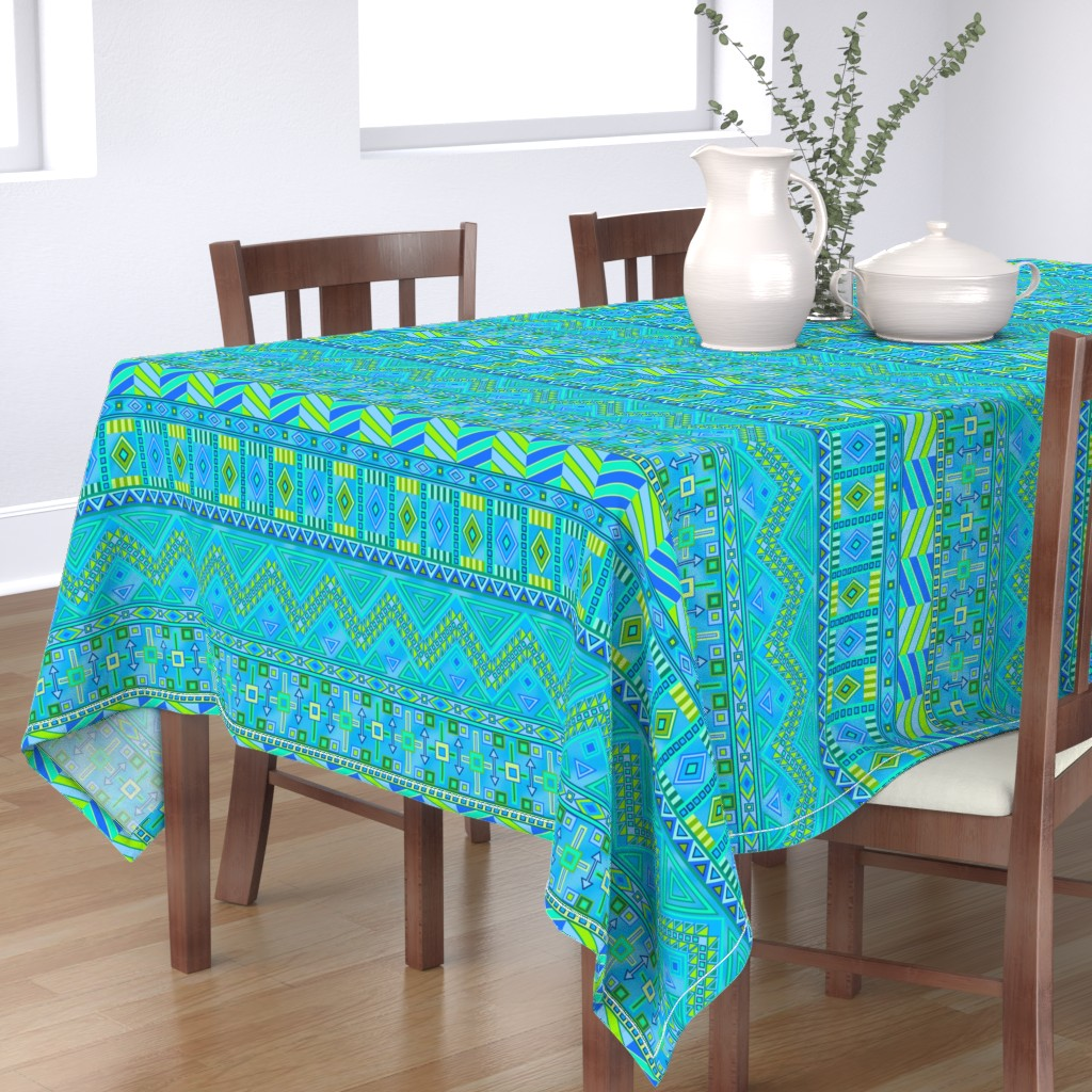 Bantam Rectangular Tablecloth featuring Aztec Print Blues And Greens by theartofvikki