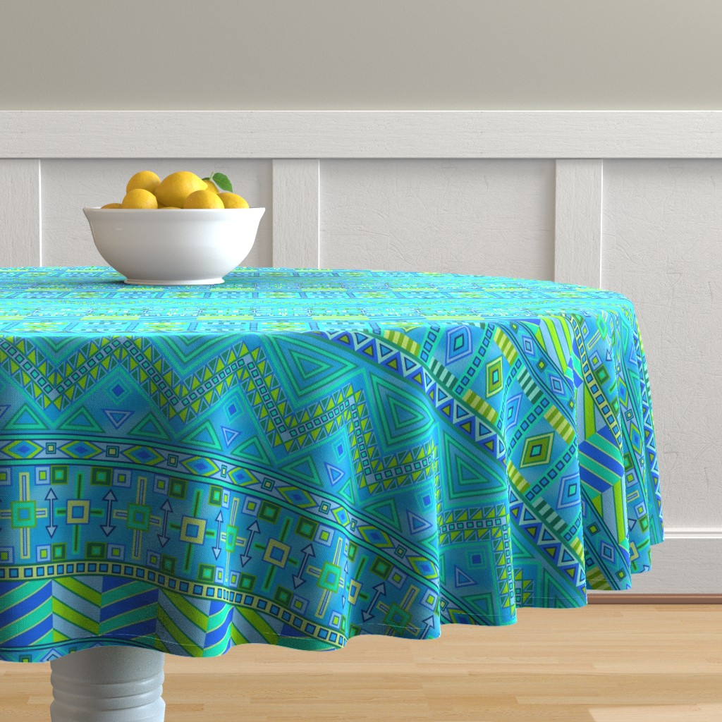 Malay Round Tablecloth featuring Aztec Print Blues And Greens by theartofvikki