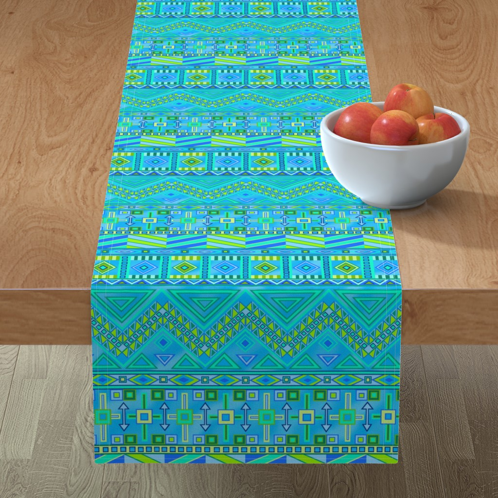Minorca Table Runner featuring Aztec Print Blues And Greens by theartofvikki