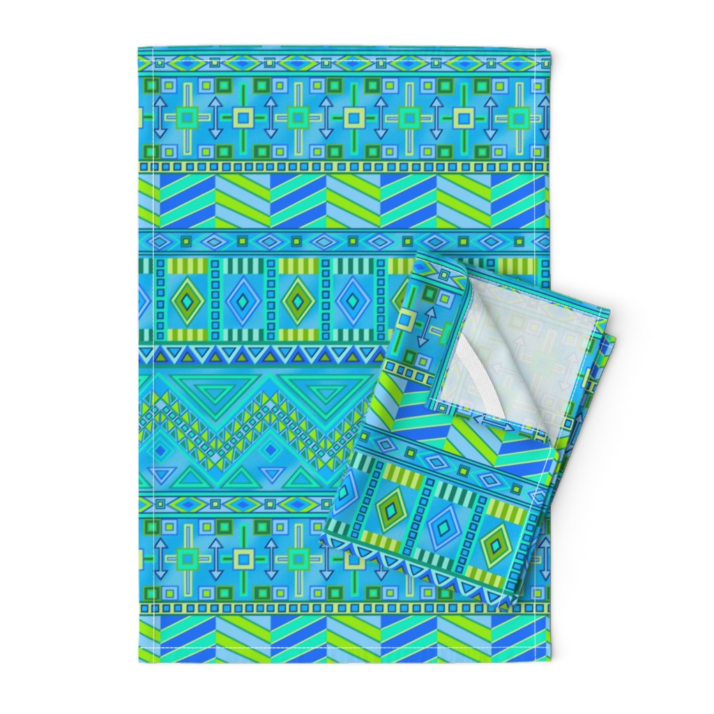Orpington Tea Towels featuring Aztec Print Blues And Greens by theartofvikki