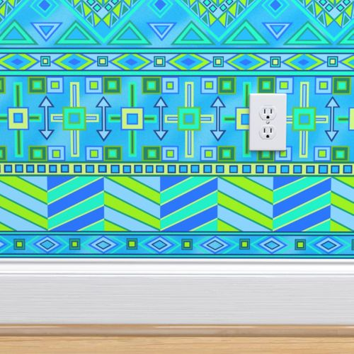 Wallpaper Aztec Print Blues And Greens