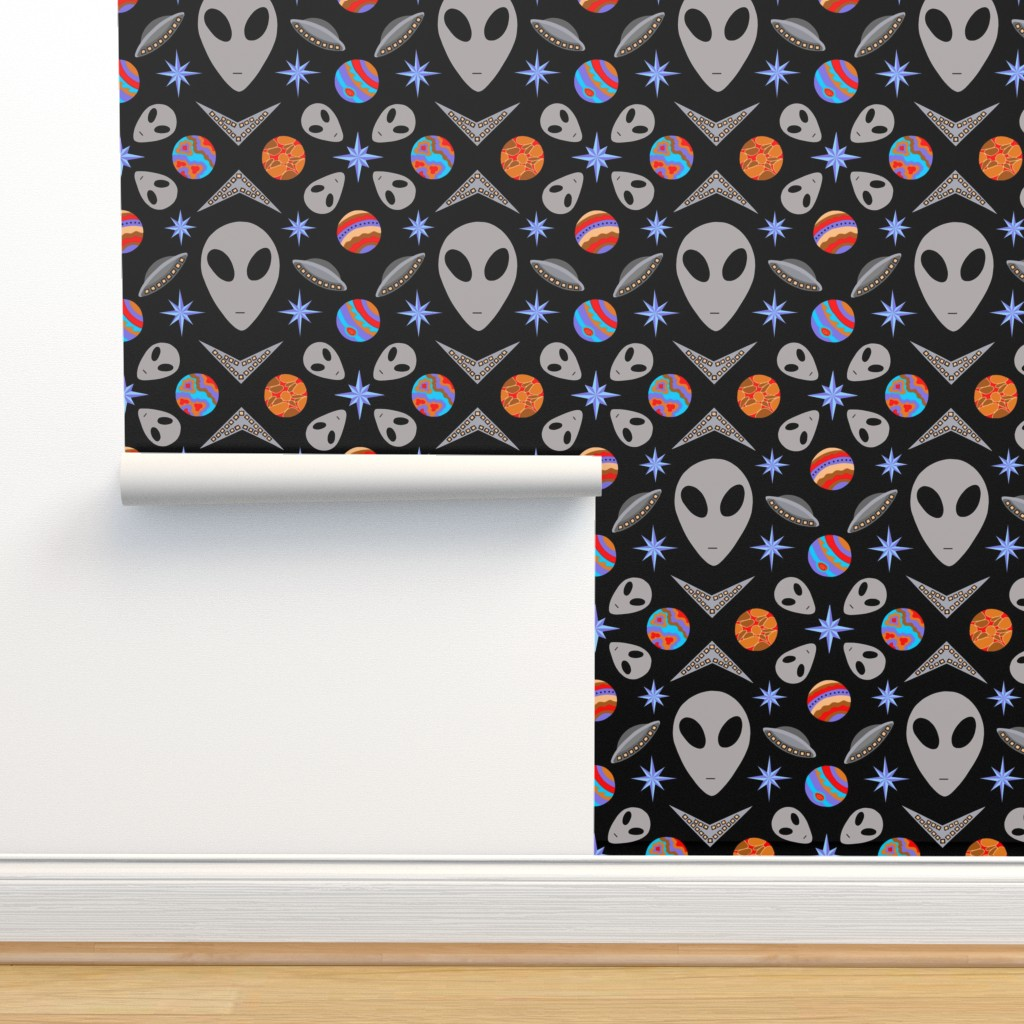 Isobar Durable Wallpaper featuring Aliens And UFOs In Space [on black] by theartofvikki