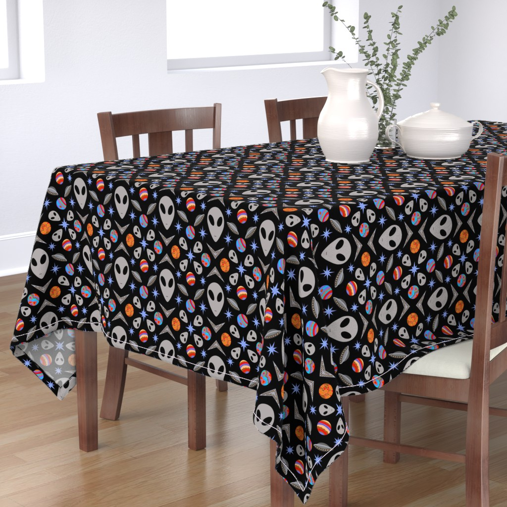 Bantam Rectangular Tablecloth featuring Aliens And UFOs In Space [on black] by theartofvikki