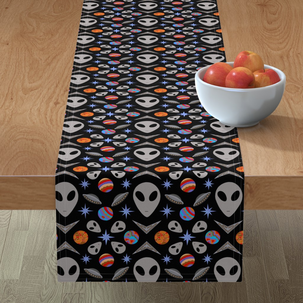 Minorca Table Runner featuring Aliens And UFOs In Space [on black] by theartofvikki