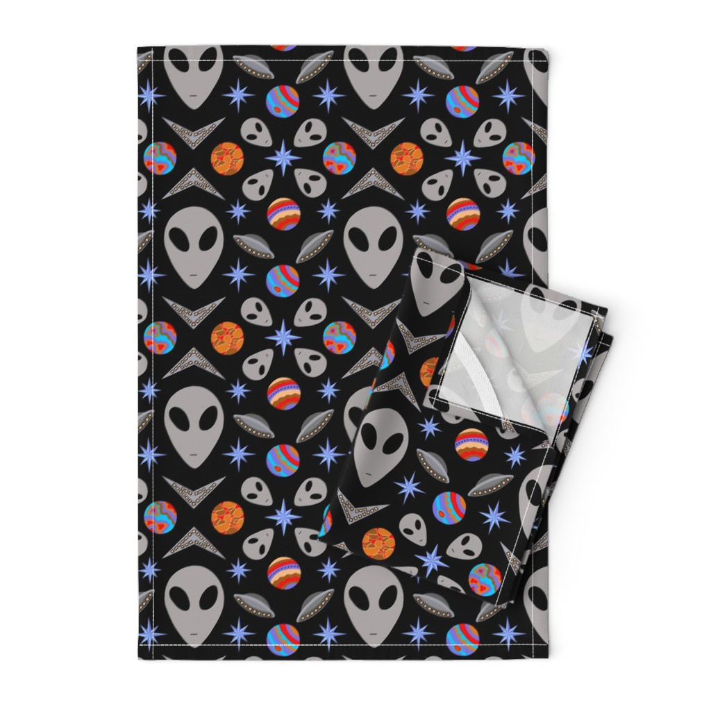 Orpington Tea Towels featuring Aliens And UFOs In Space [on black] by theartofvikki