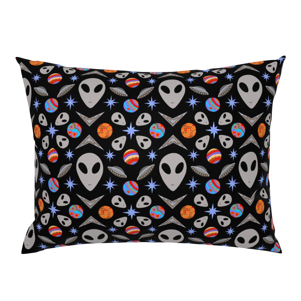 Campine Pillow Sham featuring Aliens And UFOs In Space [on black] by theartofvikki