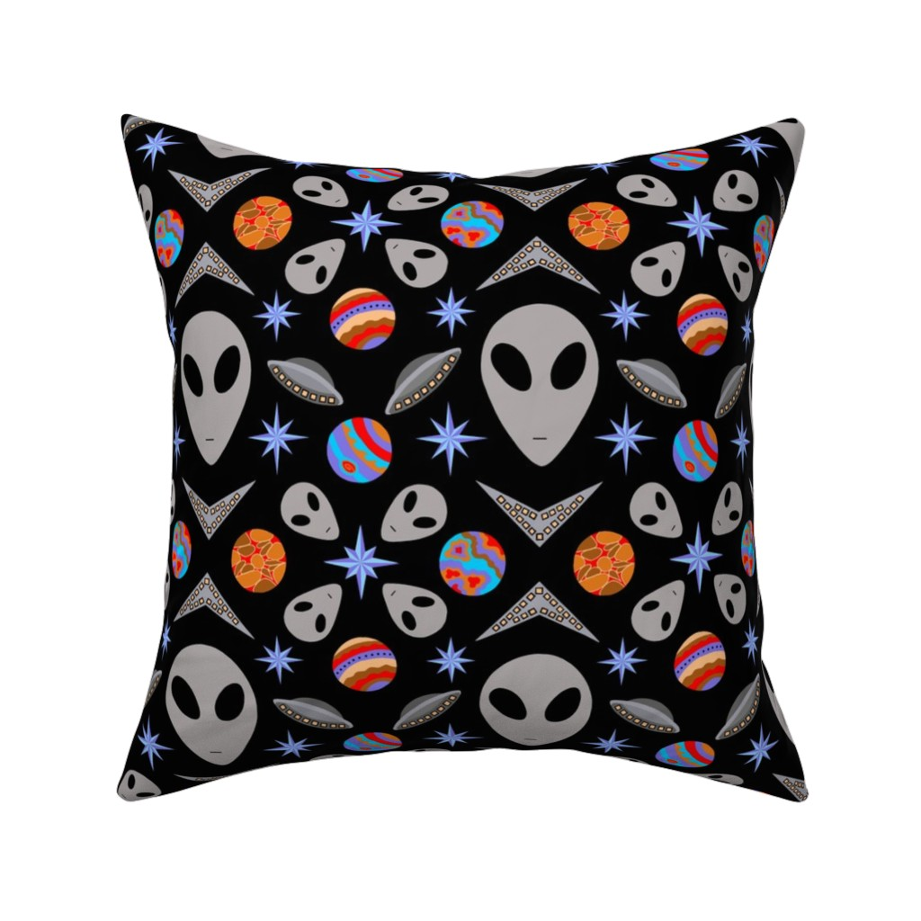 Catalan Throw Pillow featuring Aliens And UFOs In Space [on black] by theartofvikki