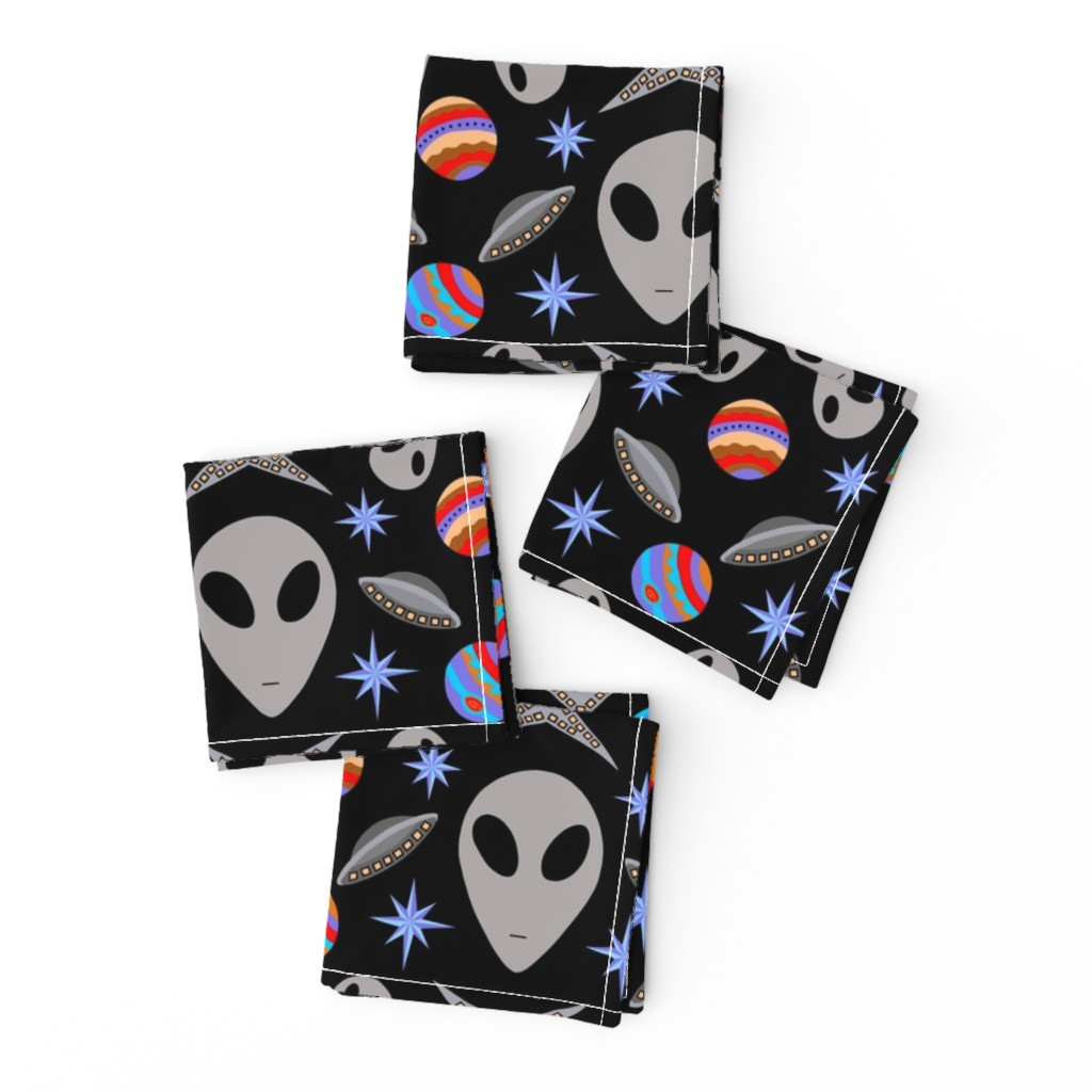 Frizzle Cocktail Napkins featuring Aliens And UFOs In Space [on black] by theartofvikki