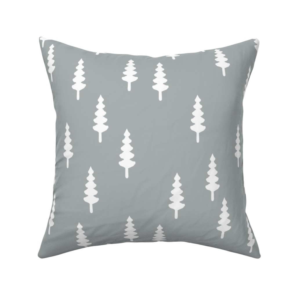 Catalan Throw Pillow featuring trees on grey by littlearrowdesign