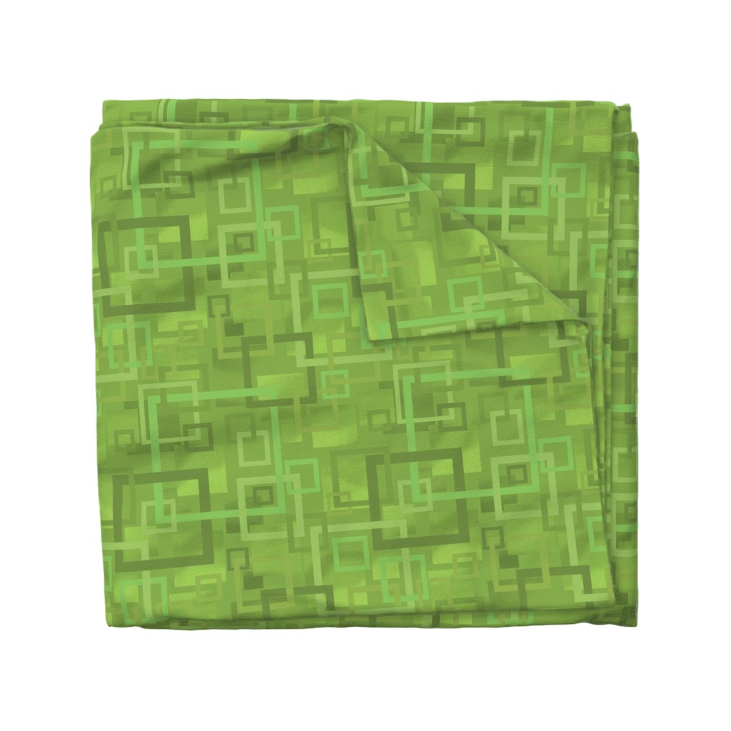 Wyandotte Duvet Cover featuring Geometric Open Work Squares In Greenery by theartofvikki