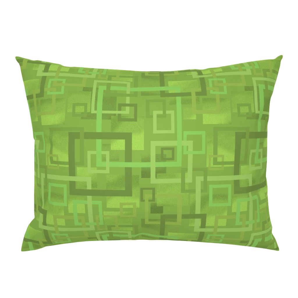 Campine Pillow Sham featuring Geometric Open Work Squares In Greenery by theartofvikki