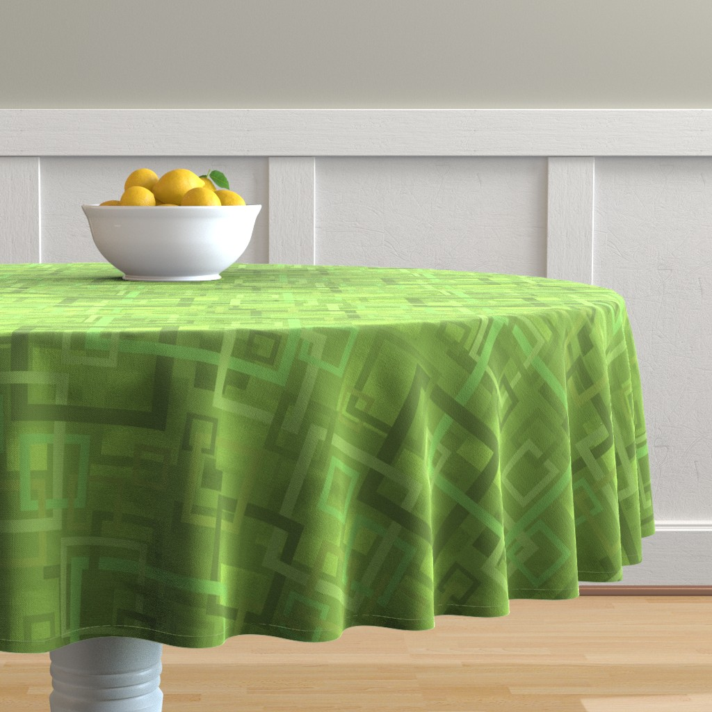 Malay Round Tablecloth featuring Geometric Open Work Squares In Greenery by theartofvikki