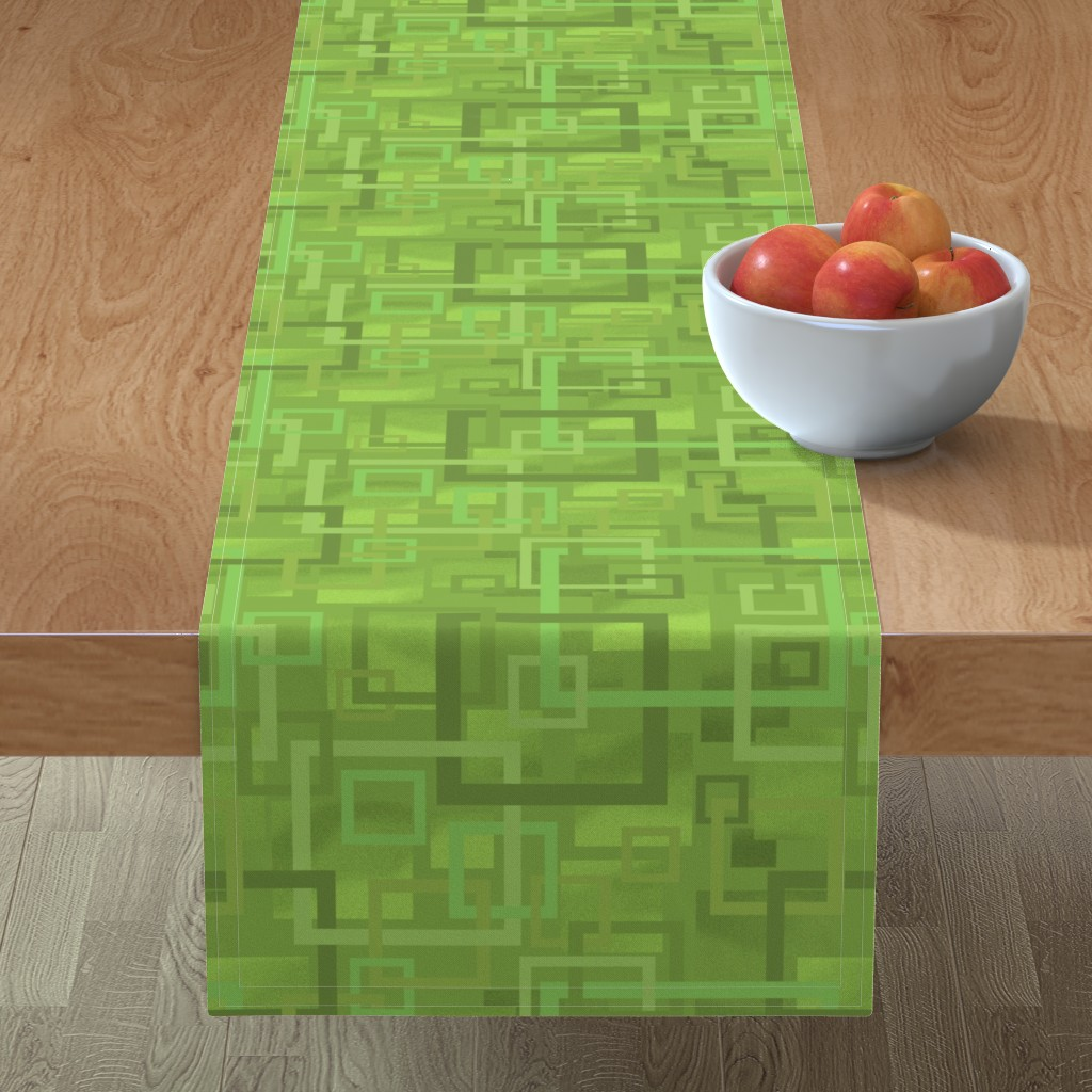 Minorca Table Runner featuring Geometric Open Work Squares In Greenery by theartofvikki