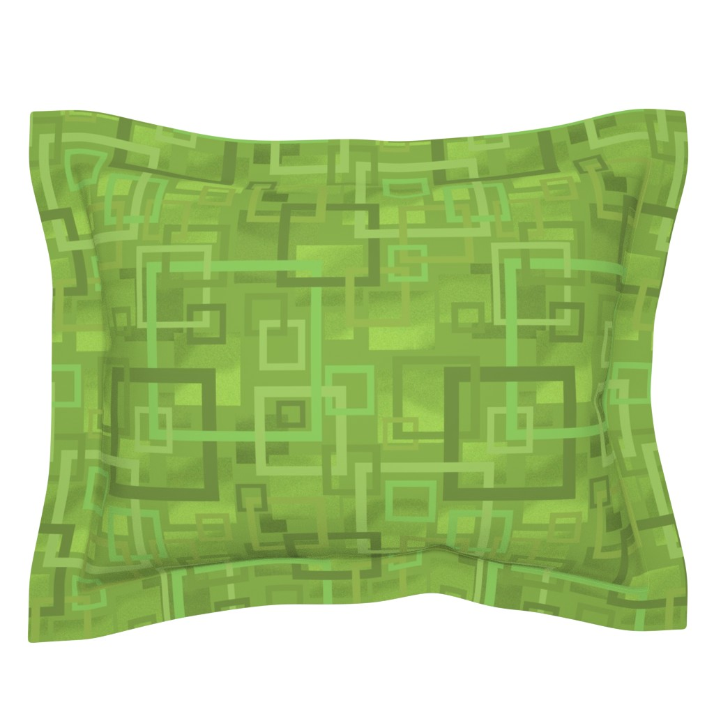 Sebright Pillow Sham featuring Geometric Open Work Squares In Greenery by theartofvikki