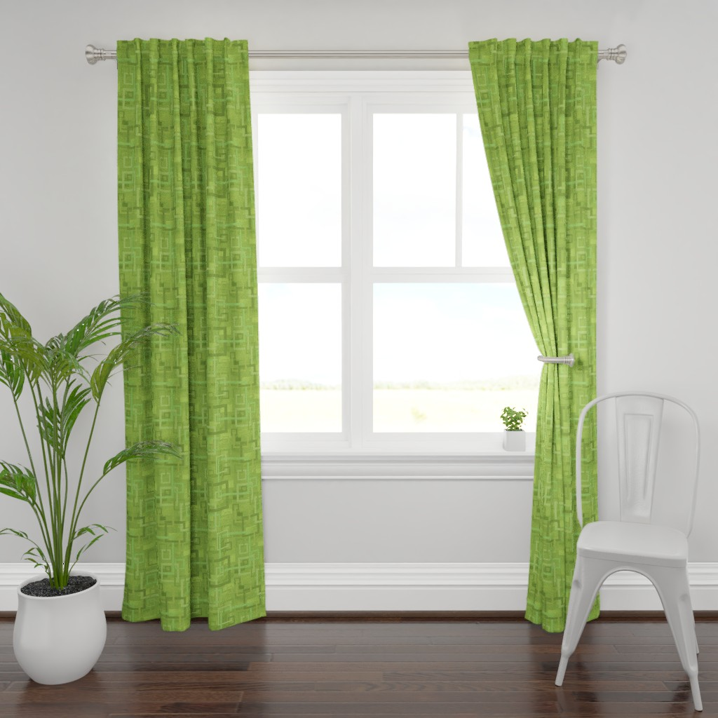 Plymouth Curtain Panel featuring Geometric Open Work Squares In Greenery by theartofvikki
