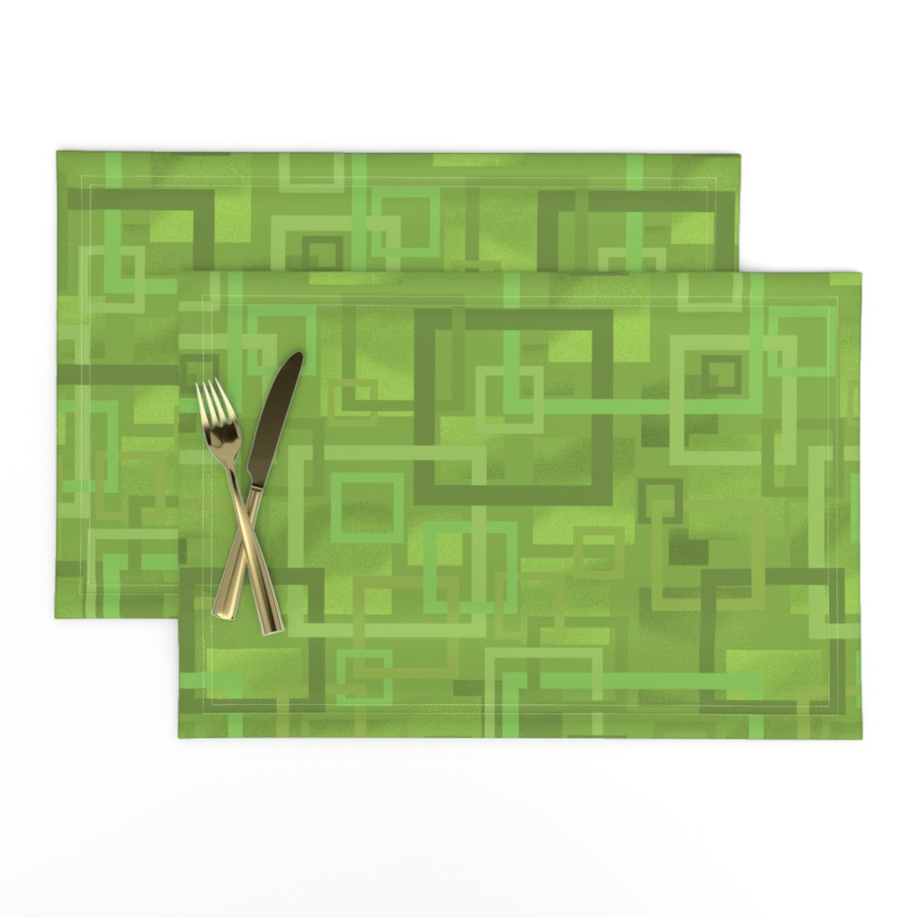 Lamona Cloth Placemats featuring Geometric Open Work Squares In Greenery by theartofvikki
